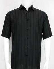 Bassiri Crepe Stripe Short Sleeve Camp Shirt - Black