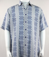Bassiri Abstract Line & Stripe Design Short Sleeve Camp Shirt