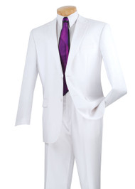 Vinci 2-Button with Flat Front Slacks Solid Color Classic Suit - White