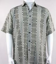 Bassiri Abstract Line & Stripe Design Short Sleeve Camp Shirt - Cream and Black Tones