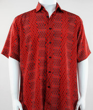 Bassiri Abstract Line & Stripe Design Short Sleeve Camp Shirt - Black and Red Tones