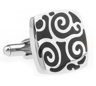 Black Scroll Stainless Steel Cufflinks (V-CF-230082SS)