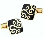 Black with Gold Scroll Design Cufflinks (V-CF-V00-02BG)