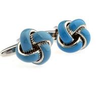Blue Enamel Classic Love Knot Cufflinks (V-CF-C510032BL)