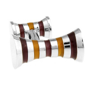 Double Knob Bronze & Tan Stripe Cufflinks (V-CF-E62379BR)