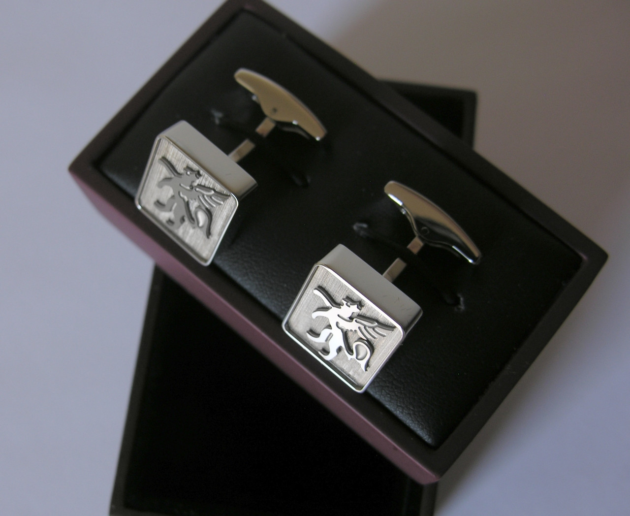 Authentic Hickey Freeman Mother-of-Pearl Stainless Steel Cufflinks New