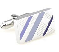 Lilac Enamel Diagonal Design Cufflinks (V-CF-E70422PR1)