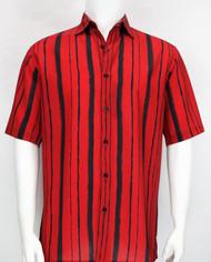 Bassiri Multi Stripe Design Short Sleeve Camp Shirt - Black and Red