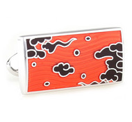 Orange & Black Enamel Mystic Cloud Design Large Cufflinks (V-CF-E811309O)