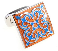 Orange & Blue Celtic Design Enamel Cufflinks (V-CF-E712BLO-S)