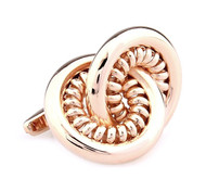 Oversized Rose Gold Double Hoop Cufflinks (V-CF-M65112RG)