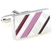 Pink Enamel Diagonal Design Cufflinks (V-CF-E70422P1)