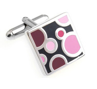 Pink on Black Enamel Dot Design Cufflinks (V-CF-E700184P)