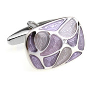 Purple Colored Swirl Enamel Cufflinks (V-CF-5611PR)