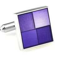 Purple Enamel Etched Square Design Cufflinks (V-CF-E70230PR)