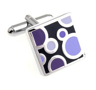 Purple on Black Enamel Dot Design Cufflinks (V-CF-E700184PR)