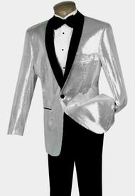 Pallini Silver Sequin Formal Sportcoat