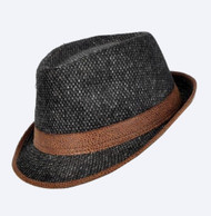 Brown Tweed Design Fedora Short Brim Fashion Hat