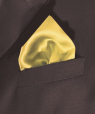 100% Satin Silk Pocket Square 17in x 17in - Yellow
