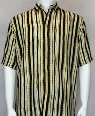 Bassiri Light Yellow and Black Abstract Short Sleeve Camp Shirt