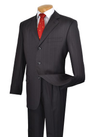 Fortini 3-Button 100% Wool Dark Blue Tonal Stripe Suit