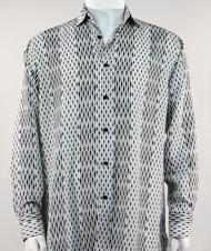 Bassiri  White and Black Abstract Stripe & Line Design Long Sleeve Camp Shirt