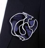Antonio Ricci 2-in-1 Pouf Pocket Square - White on Dark Blue