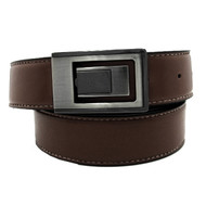 Contrasting Stitch 35mm Leather Belt - Brown Reverse Black