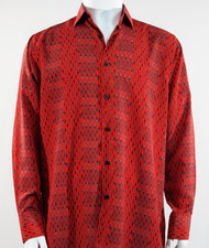 Bassiri Red Abstract Stripe & Line Design Long Sleeve Camp Shirt