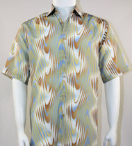 Bassiri Sage Green and Tan Swirl Short Sleeve Camp Shirt