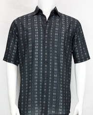 Bassiri Charcoal Dot Line Design Short Sleeve Camp Shirt
