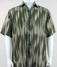 Bassiri Olive & Cream Faded Diagonal Pattern Short Sleeve Camp Shirt