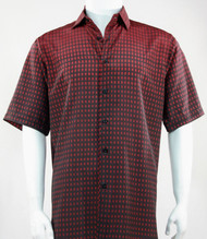 Bassiri Red & Black Faded Block Pattern Short Sleeve Camp Shirt
