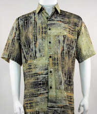 Bassiri Olive Mod Abstract Short Sleeve Camp Shirt