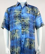 Bassiri Blue Mod Abstract Short Sleeve Camp Shirt
