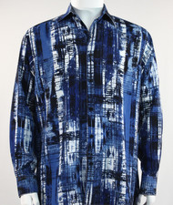 Bassiri Royal Blue and Black Abstract Line Pattern Long Sleeve Camp Shirt
