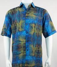 Bassiri Blue and Green Mod Abstract Short Sleeve Camp Shirt