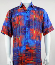 Bassiri Blue and Orange Mod Abstract Short Sleeve Camp Shirt