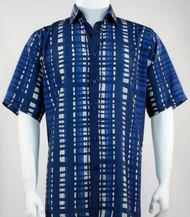 Bassiri Blue Modern Linear Design Short Sleeve Camp Shirt