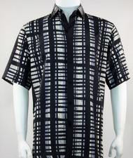 Bassiri Black and Grey Modern Linear Design Short Sleeve Camp Shirt