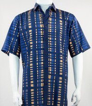 Bassiri Blue and Gold Modern Linear Design Short Sleeve Camp Shirt