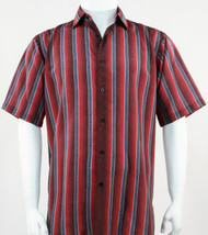 Bassiri Muted Red Line Design Short Sleeve Camp Shirt