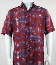 Bassiri Red Baroque Pattern Short Sleeve Camp Shirt