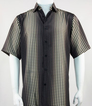 Bassiri Brown Grid and Line Pattern Short Sleeve Camp Shirt