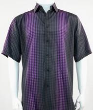 Bassiri Black and Purple Grid and Line Pattern Short Sleeve Camp Shirt