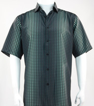 Bassiri Black and Green Grid and Line Pattern Short Sleeve Camp Shirt