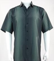 Bassiri Black and Green Grid and Line Pattern Short Sleeve Camp Shirt