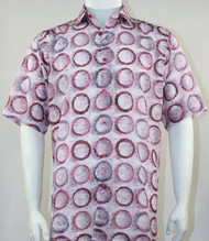 Bassiri Pink Circle Design Short Sleeve Camp Shirt