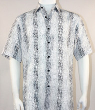 Bassiri Jagged Lines on White Short Sleeve Camp Shirt