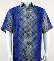 Bassiri Royal Criss-Cross Pattern Short Sleeve Camp Shirt